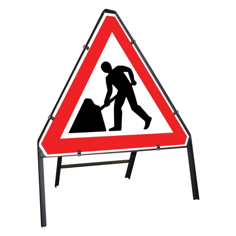 Men at Work Roadworks Clipped Triangular Metal Road Sign - 750mm