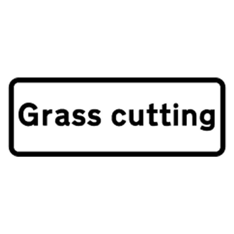 Classic Grass Cutting Roll Up Road Sign Supplement Plate - 750mm