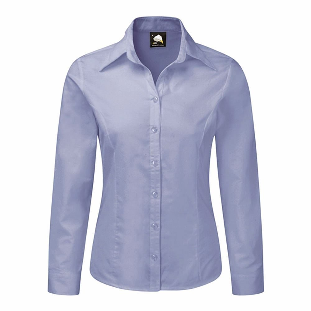 Orn Oxford Ladies' Long Sleeve Blouse - 130gsm - Sky Blue