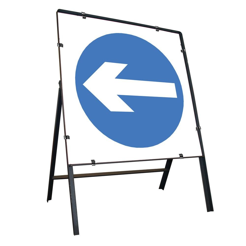 Turn Left Clipped Square Metal Road Sign - 750mm