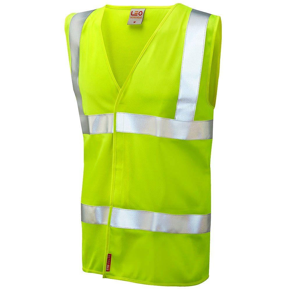 Leo Milford Flame Retardant Hi Vis Class 2 LFS Waistcoat - Yellow