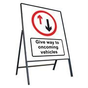 Give Way To Oncoming Vehicles Riveted Metal Road Sign - 800 x 900mm