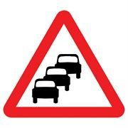 Queues Likely Triangular Metal Road Sign Plate - 600mm
