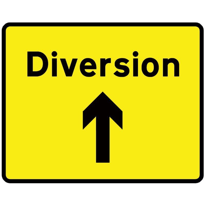 Diversion Ahead Arrow Metal Road Sign Plate - 1050 x 750mm