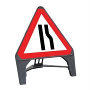 CuStack Road Narrows Offside Triangular Sign - 600mm