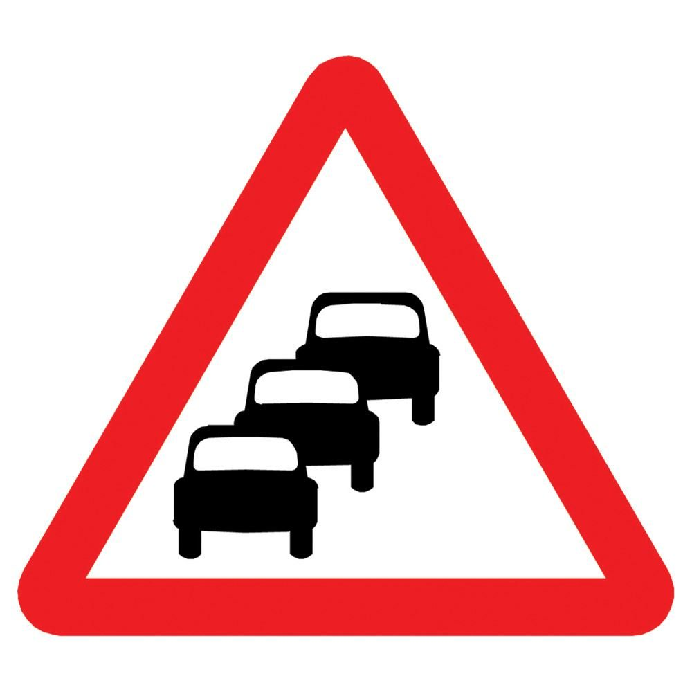 Queues Likely Triangular Metal Road Sign Plate - 750mm