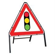 Traffic Signals Clipped Triangular Metal Road Sign - 750mm