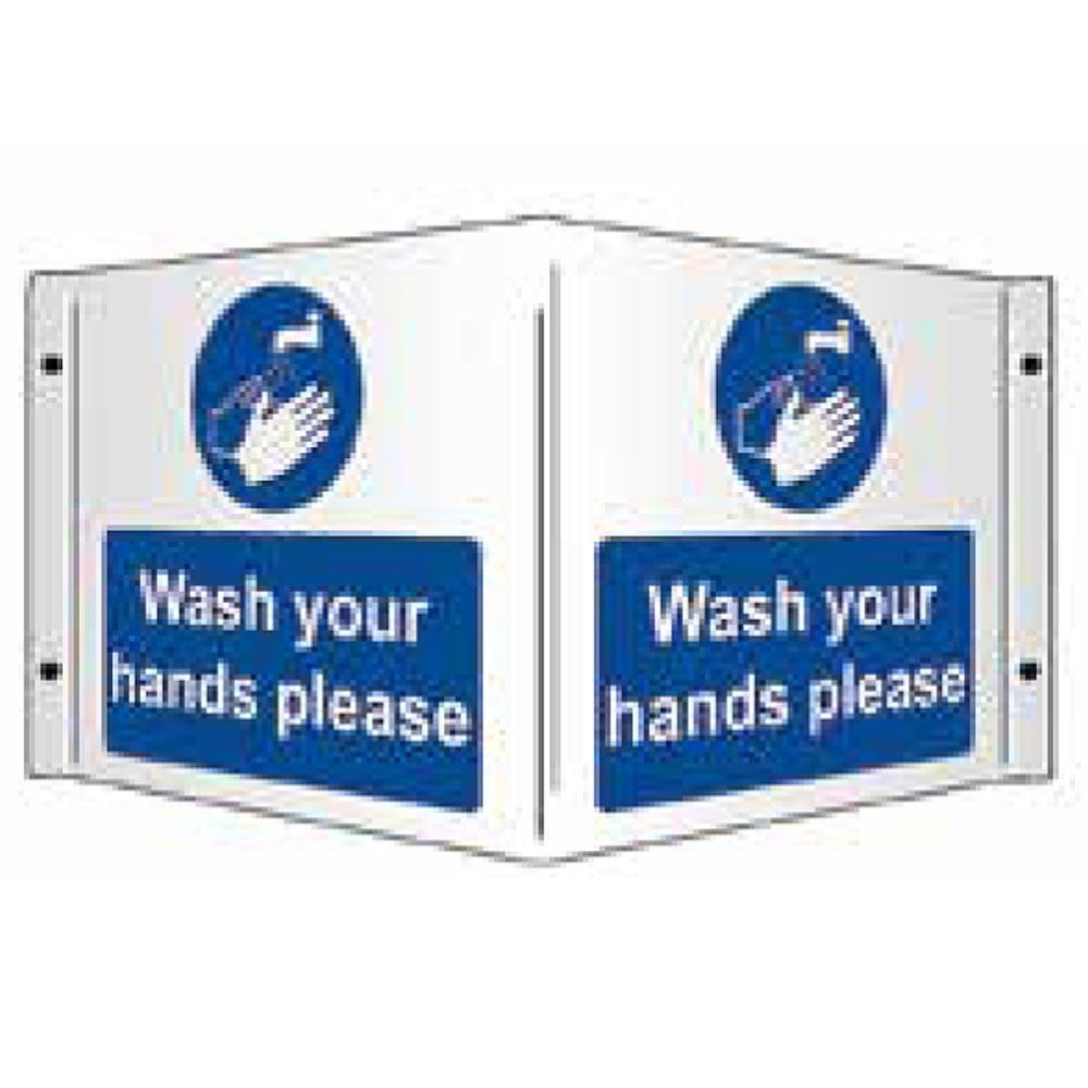 Wash Your Hands Please PVC Projecting Sign - 430mm x 200mm x 1mm