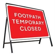 Footpath Temporary Closed Riveted Metal Road Sign - 600 x 450mm