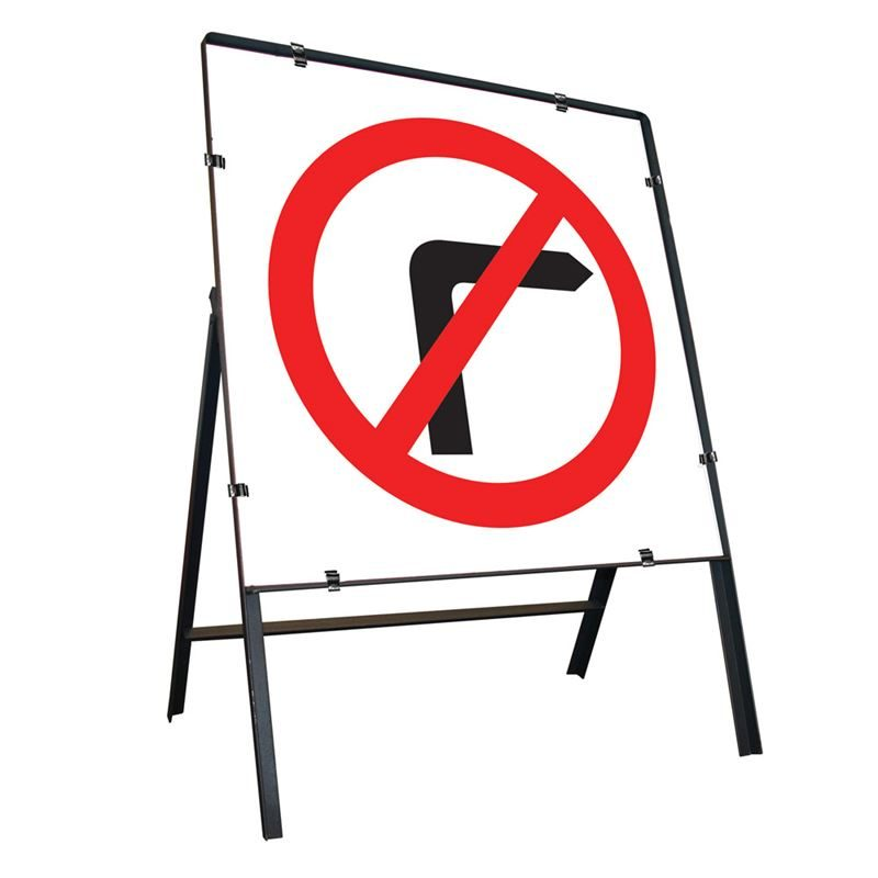 No Right Turn Clipped Square Metal Road Sign - 750mm