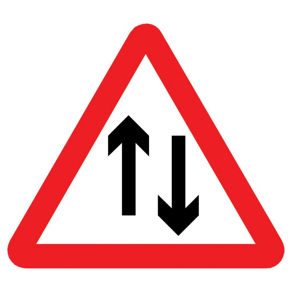 Two Way Traffic Triangular Metal Road Sign Plate - 900mm