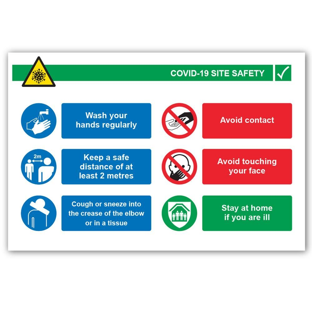 COVID-19 Site Safety Correx Sign - 900mm x 600mm