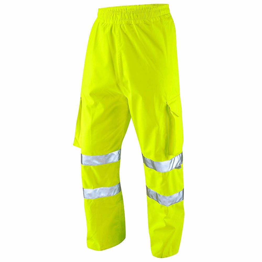 Leo Instow Waterproof Hi Vis Class 1 Breathable Executive Yellow Cargo Overtrousers