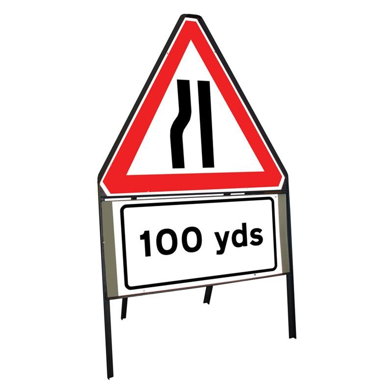 Road Narrows Nearside Riveted Triangular Metal Road Sign with 100 Yards Supplement Plate - 900mm