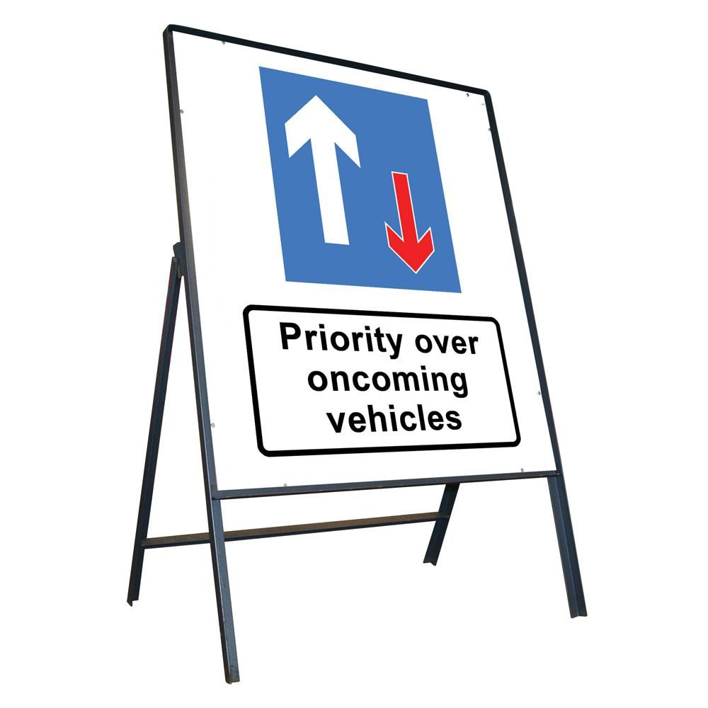 Priority Over Oncoming Vehicles Riveted Metal Road Sign - 800 x 900mm