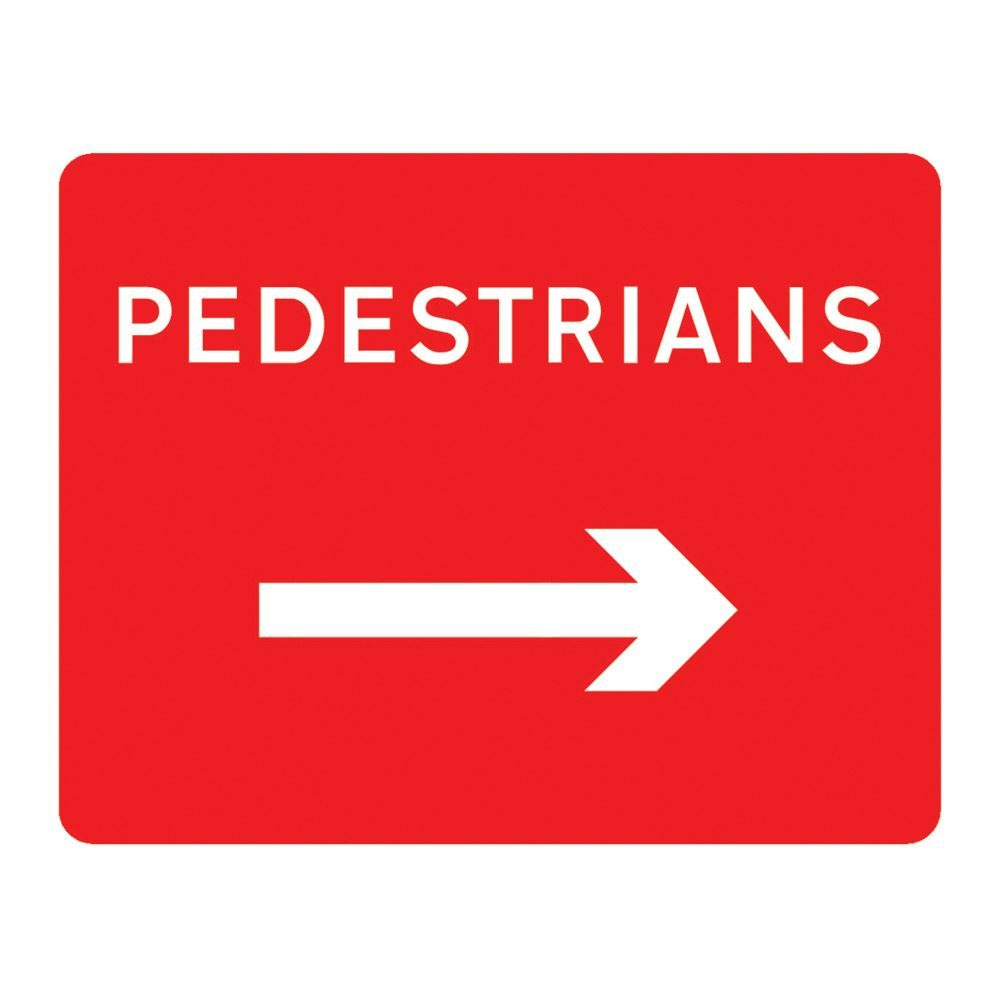 Pedestrians Right Metal Road Sign Plate - 600 x 450mm
