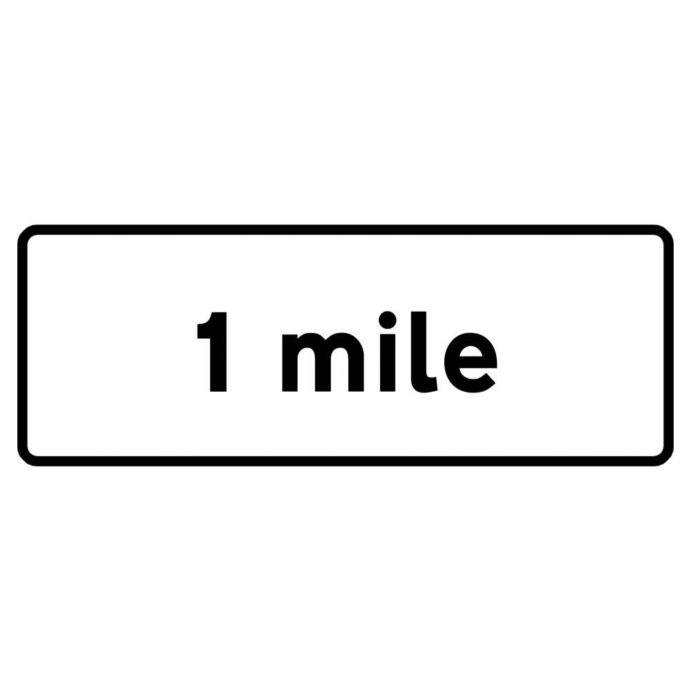 1 Mile Metal Road Sign Supplement Plate - 1200mm