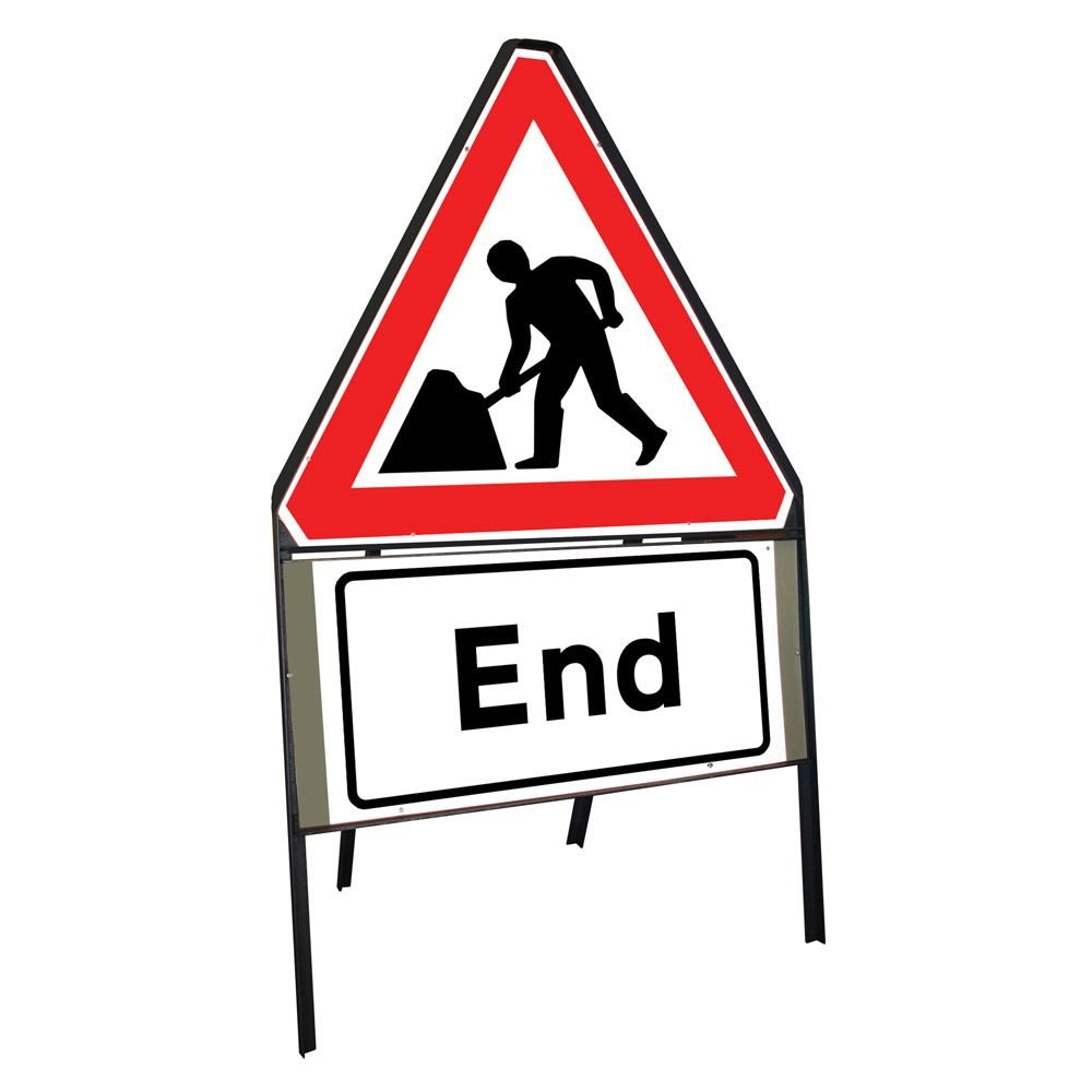 Men at Work Roadworks Riveted Triangular Metal Road Sign with End Supplement Plate - 750mm