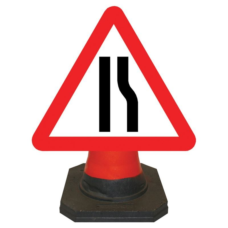 Hangman Road Narrows Offside Cone Sign - 750mm