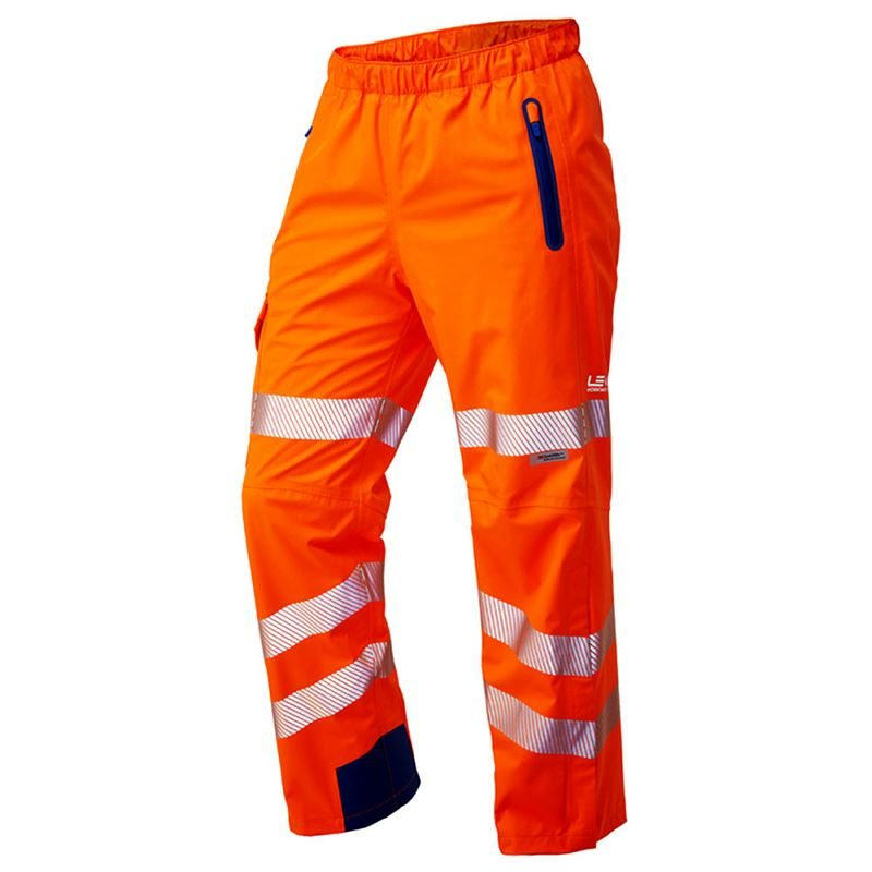 Leo Lundy Rail Waterproof Breathable Hi Vis Class 2 Orange High Performance Overtrousers