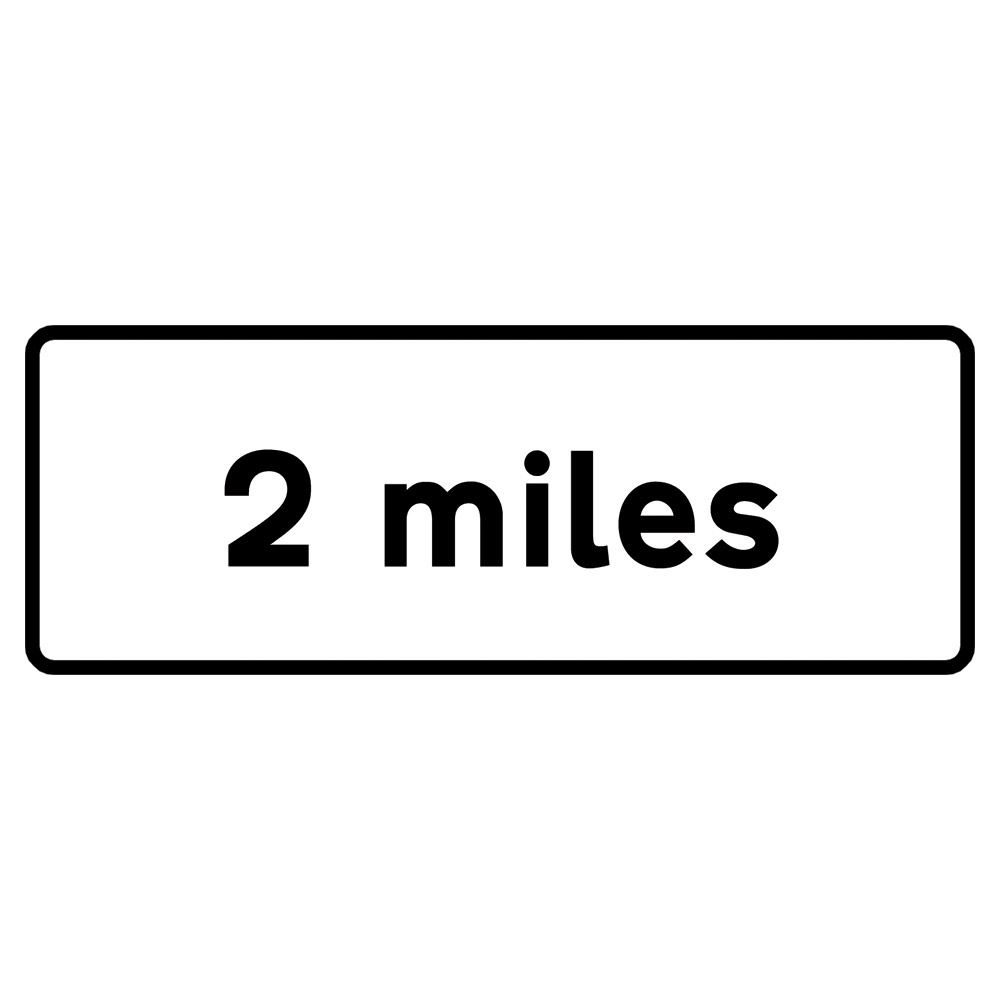2 Miles Metal Road Sign Supplement Plate - 1200mm