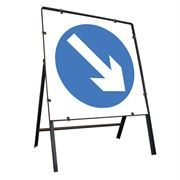Keep Right Clipped Square Metal Road Sign - 900mm