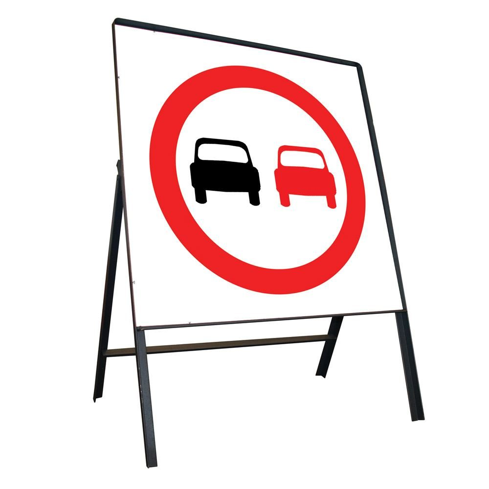 No Overtaking Riveted Square Metal Road Sign - 750mm
