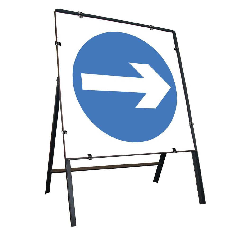 Turn Right Clipped Square Metal Road Sign - 750mm