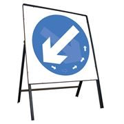 Keep Left / Right Rotating Riveted Square Metal Road Sign - 750mm