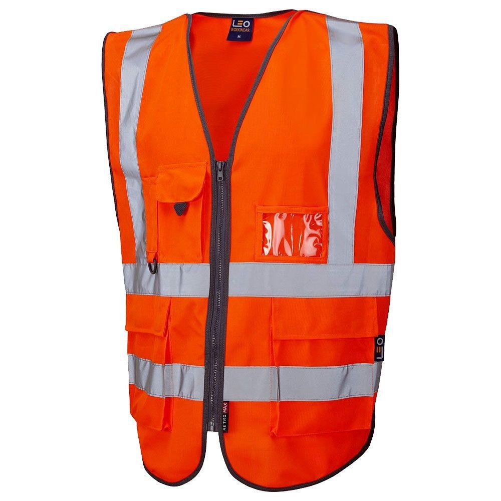 Leo Barnstaple Rail Hi Vis Class 2 Superior Zip Orange Waistcoat