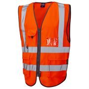 Leo Barnstaple Rail Hi Vis Class 2 Superior Zip Orange Waistcoat