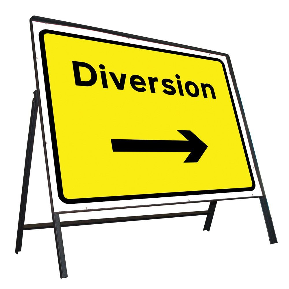 Diversion Right Riveted Metal Road Sign - 1050 x 750mm