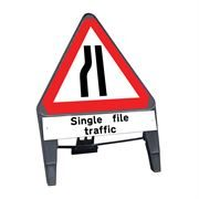 CuStack Road Narrows Nearside Triangular Sign with Single File Traffic Supplement Plate - 750mm