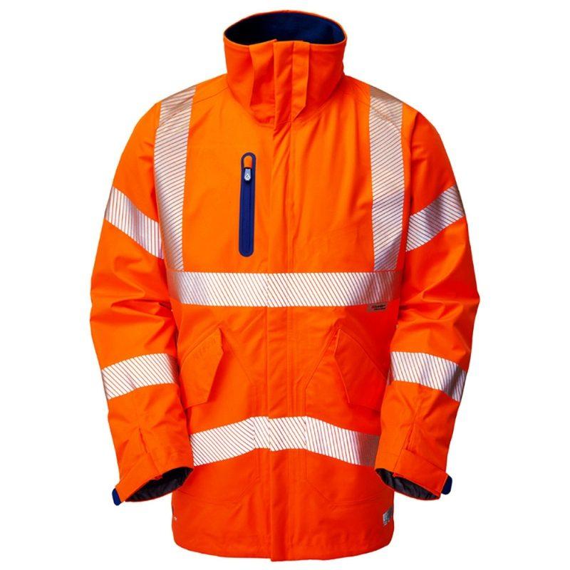 Leo Marisco Rail Waterproof Breathable Hi Vis Orange High Performance Anorak