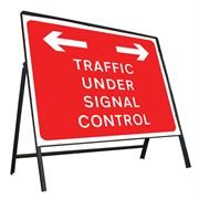 Traffic Under Signal Control Left / Right Riveted Metal Road Sign - 1050 x 750mm