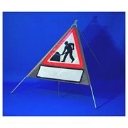 Classic Men at Work Roadworks Triangular Roll Up Road Sign with Supplement Plate - 750mm