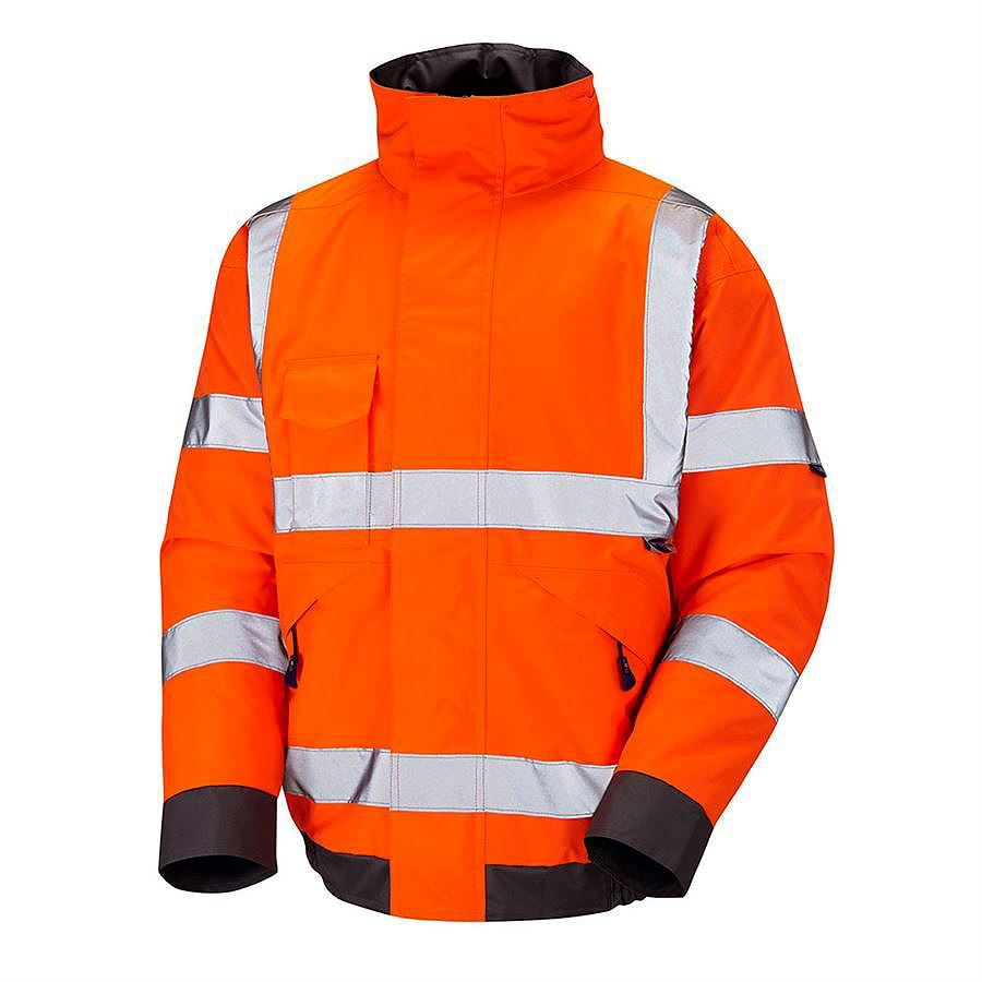 Leo Chivenor Rail Waterproof Hi Vis Class 3 Orange Bomber Jacket - 200gsm