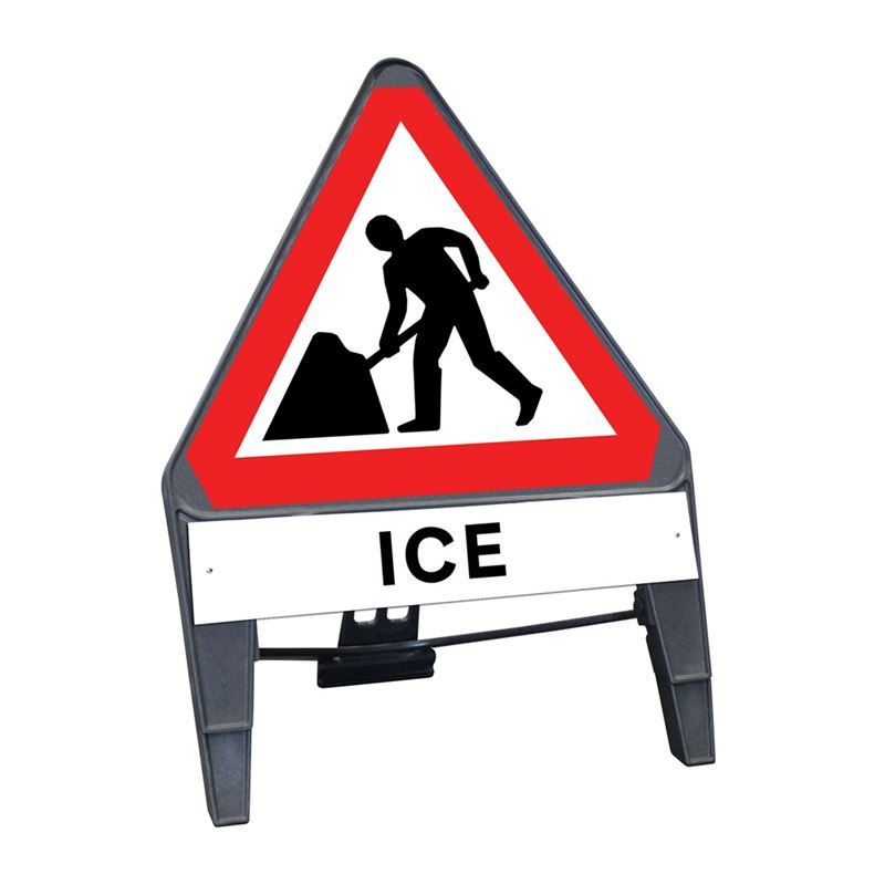 CuStack Men at Work Roadworks Triangular Sign with Ice Supplement Plate - 750mm