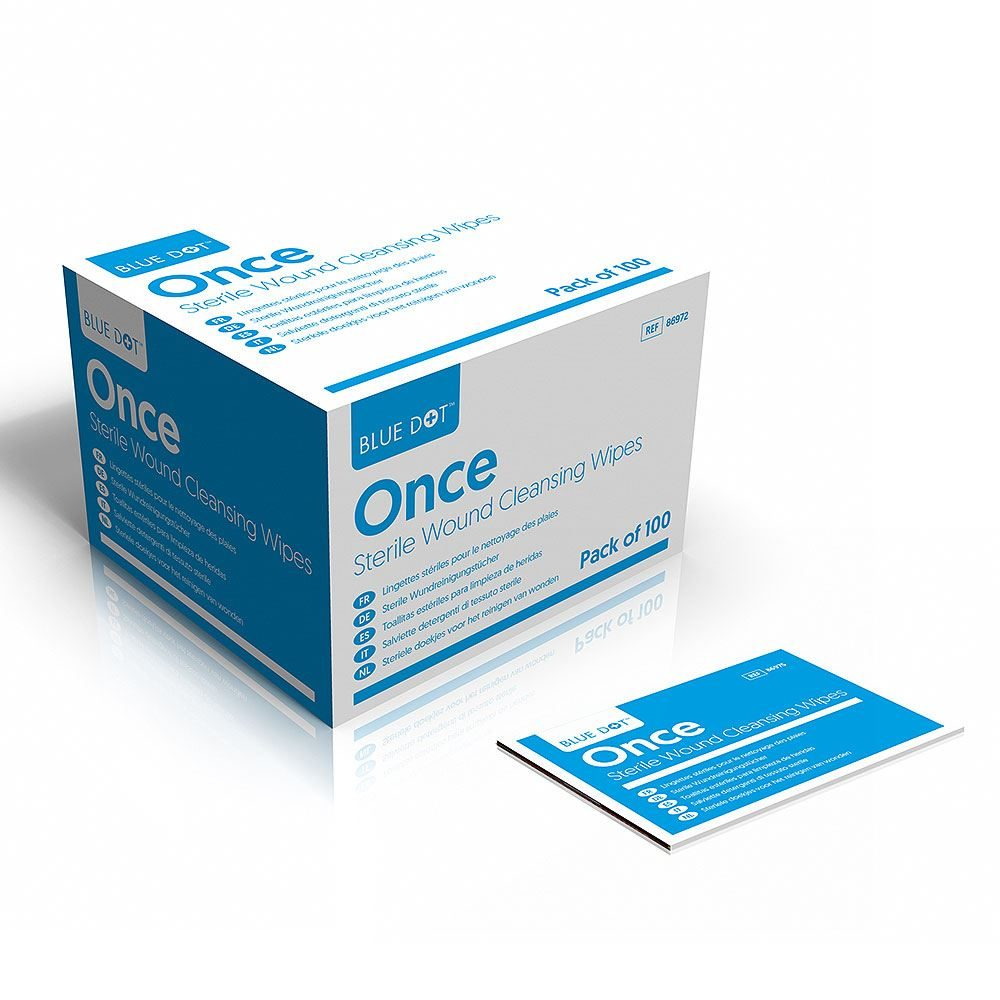 Blue Dot Once Sterile Wound Cleansing Wipes - Box of 100