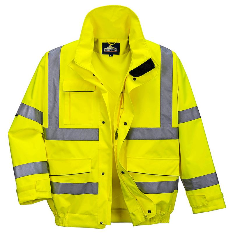 Waterproof Breathable Hi Vis Class 3 Yellow Extreme Bomber Jacket - 200gsm