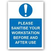 Please Sanitise Your Workstation PVC Sign - 300mm x 400mm x 1mm