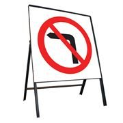 No Left Turn Riveted Square Metal Road Sign - 750mm
