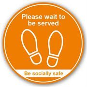 Please Wait To Be Served Anti Slip Floor Graphic - 200mm