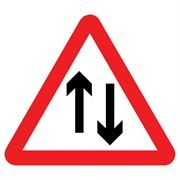 Two Way Traffic Triangular Metal Road Sign Plate - 600mm
